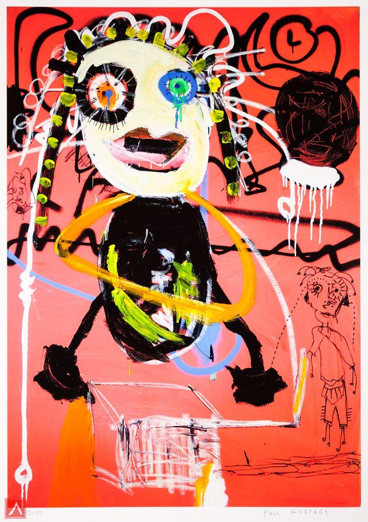 "Paul Kostabi: ""Sattelite"" (2012) is a handsigned & numbered gliclée."