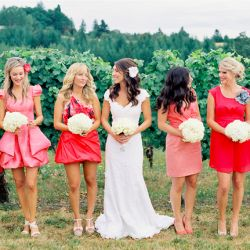 Blush Pink + Red = A Juicy Summer Wedding Colour Palette. Image via Jill Thomas Photography.