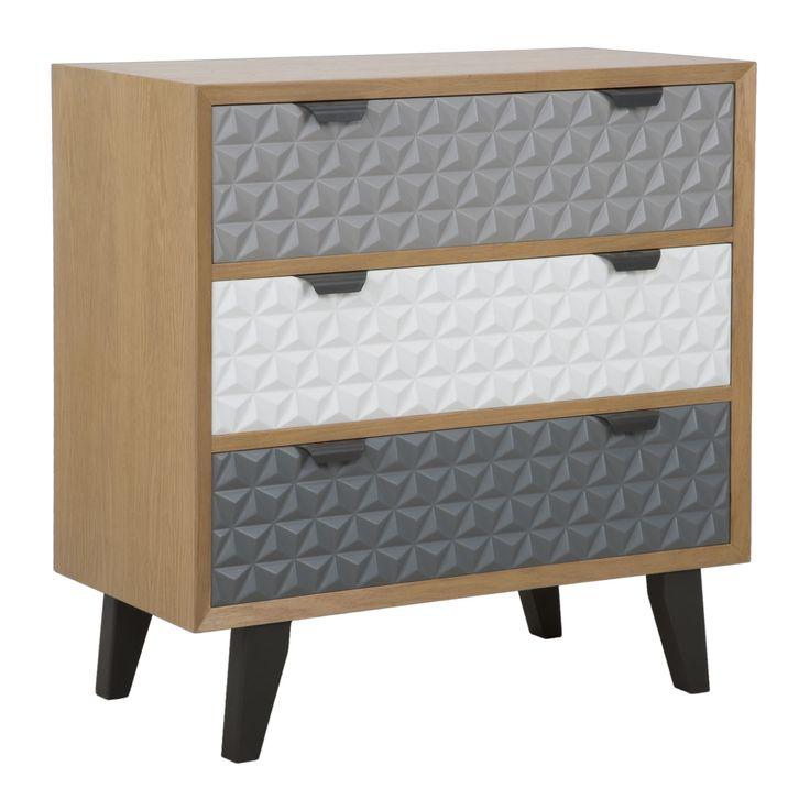 Cassettiera a 3 cassetti in legno di abete, legno di quercia,MDFe metallo.
