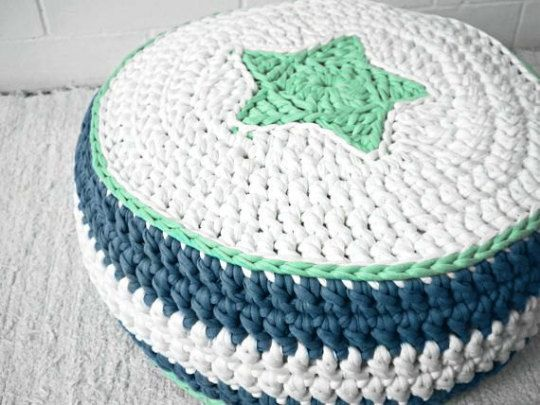 Green/White/Gray Crochet Floor Cushions - Ottoman Kids pouf - Nursery Ottoman Pouf - Kids Floor Cushion - Spring Collection  A Looping Home©