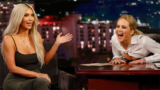 Jennifer Lawrence Grills Kim Kardashian On Jelena's Reunion, Her Surrogate & More https://tmbw.news/jennifer-lawrence-grills-kim-kardashian-on-jelenas-reunion-her-surrogate-more  Fangirl alert! Jennifer Lawrence filled in as guest host on 'Jimmy Kimmel Live' and got one on one time with her idol Kim Kardashian. The actress went deep questions about Jelena, her surrogate, Blac Chyna and more!Oscar winner Jennifer Lawrence , 27, took over guest hosting duties on Jimmy Kimmel Live! on Nov. 2…