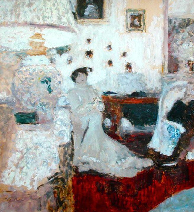 The Conversation under the Lamp, c.1914 (oil on board), Vuillard, Edouard (1868-1940)