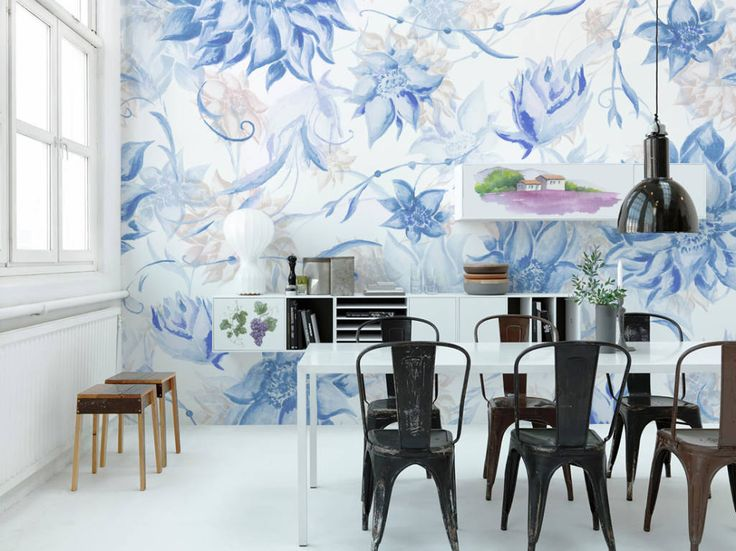 Soft Blue (from PIXERS) - Wall mural combined with stickers on cabinets #wallmurals #stickers #decals