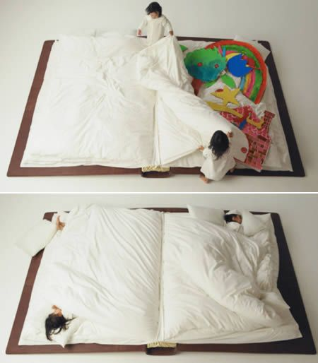 Now you can literally curl up in the pages of a good book! Yusuke Suzuki made this bed with sheets forming the pages and pillows serving as bookmarks. (Link | Via)