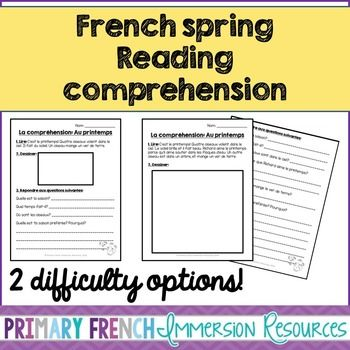 french spring reading comprehension sheets the box comprehension and student. Black Bedroom Furniture Sets. Home Design Ideas