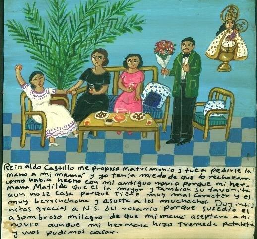 Рейнальдо Кастильо сделал мне предложение и отправился к моей маме просить моей руки. Я боялась, что она откажет ему, как и предыдущему жениху. Дело в том, что моя старшая сестра Матильда, её любимица, до сих пор не вышла замуж по причине скверного характера и строптивости, отпугивающей молодых людей. Благодарю Пресвятую Деву Розария за удивительное чудо: случилось так, что мама дала согласие, хотя моя сестра и устроила настоящую истерику, и теперь мы можем пожениться.