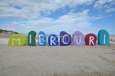 Miercuri, Wednesday, third day of the week on colourful stones