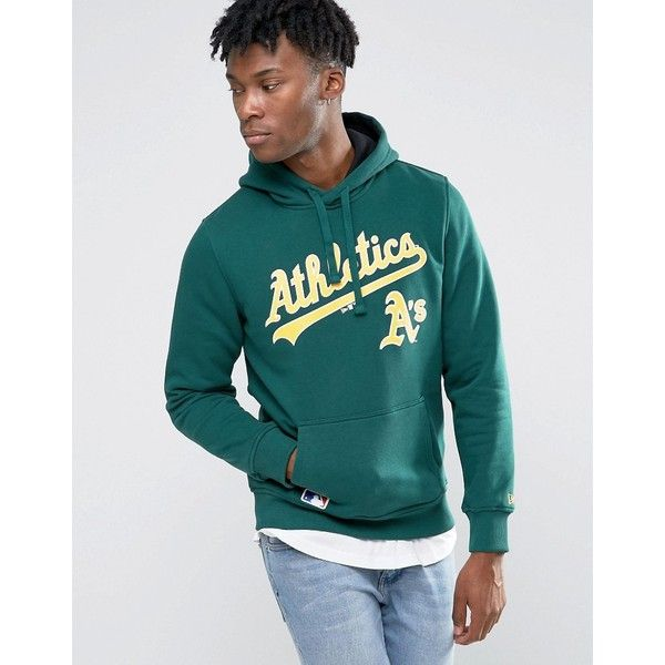 New Era Oakland Athletics Hoodie (£79) ❤ liked on Polyvore featuring men's fashion, men's clothing, men's hoodies, green, mens sweatshirts and hoodies, mens cotton hoodies, mens hoodies and mens tall hoodies