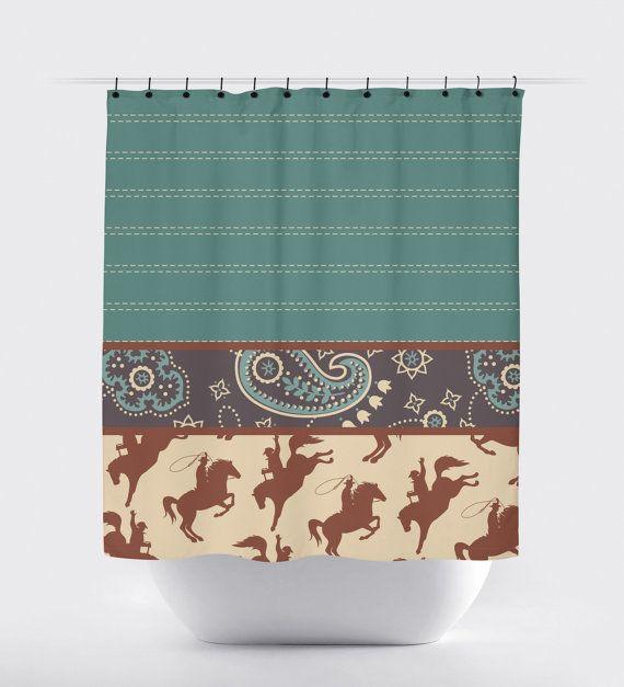 cowboy shower curtain shower curtain horse by PrintArtShoppe
