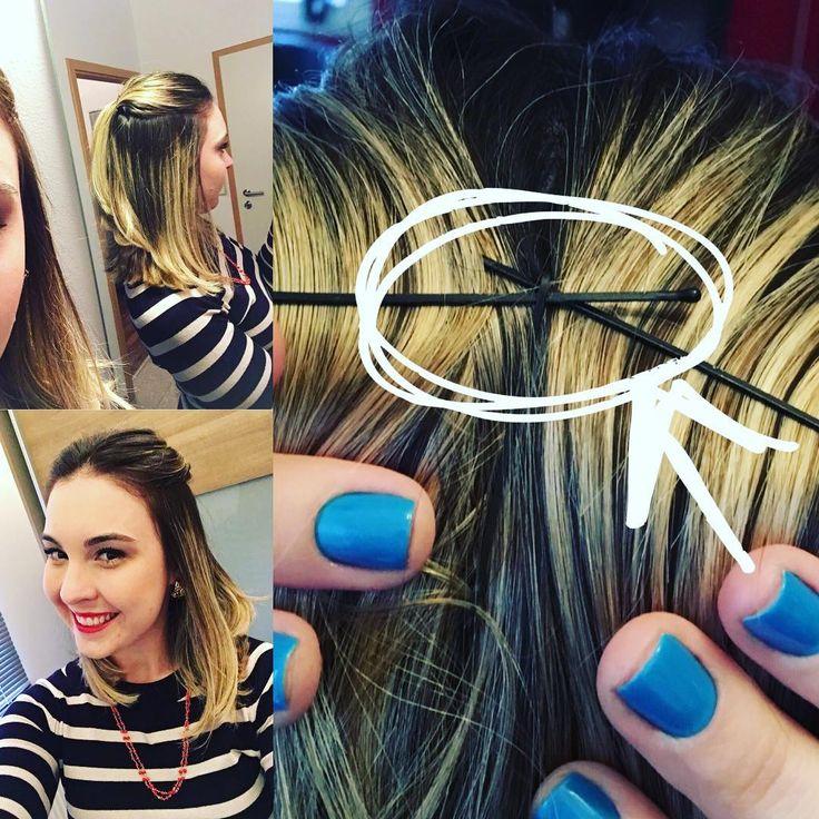 🙆🏼Tirei essas fotos no fim de semana e quase esqueci de postar! Tenho usado muito meu cabelo assim, pois não gosto de ficar ajeitando a franja com a mão toda hora e nem da sensação do cabelo caindo no rosto. Então, sou amante dos #grampos e sempre prendo assim: um grampo no outro e um terceiro grampinho, escondidinho, na vertical, prendendo os dois da horizontal. Fica bem preso o dia todo e não escorrega por nada no cabelo. Amo! ❤️ #cabelo #haar #hair #dicadecabelo #grampo #penteado