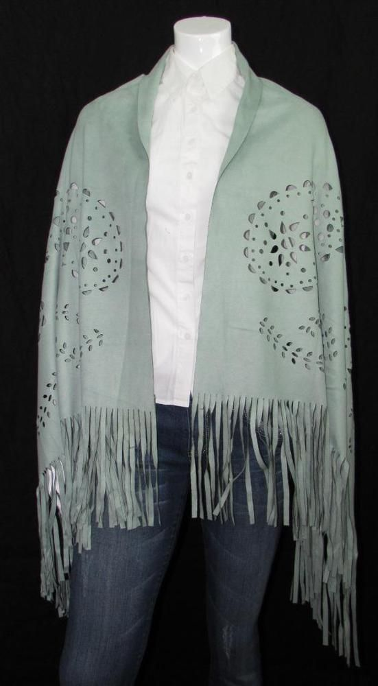 """Women Mint Green Cape Wrap Poncho Lazer Cut Outs Polyester 30"""" X 60"""" NEW NWT #Simi #Cape #Everyday"""