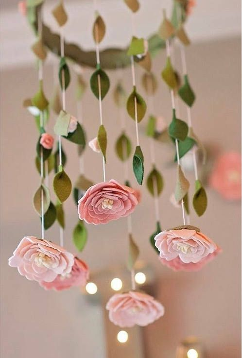Flower chandelier nursery mobile is the perfect addition to any girls bedroom as a mobile or a beautiful addition to a reading corner. This light weight flower mobile, when delivered, is ready to hang. Hangs approximately 18 inches from hanging loop to the top ring. Flowers and leaves hang approximately 15-17 inches from the hoop.  Mobile includes 6 hanging peony felt flowers, 12 small rose buds that are perfectly spaced on the hanging vines. Around the top are leaves and a mix of lovely…