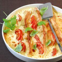 Italienischer Brotauflauf mit Pesto