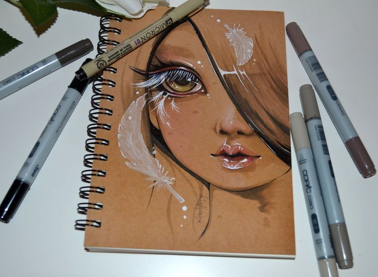 Sketchbook Cover No 2: Feather Girl. I have two more sketchbooks that need to be painted on - any ideas for the covers?  Maybe some more flower themed ones?