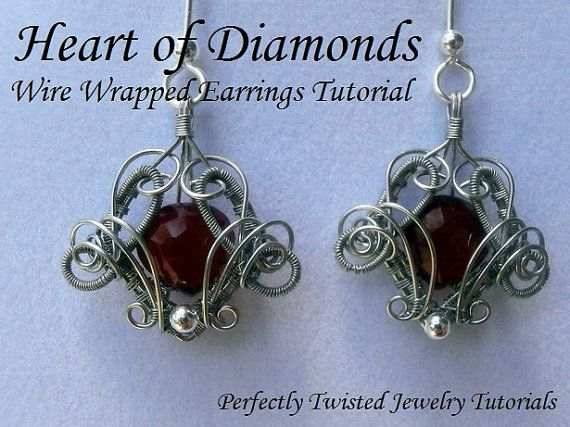 TUTORIAL Wire Wrapped Earrings, Heart of Diamonds, Advanced Wire Wrapping Jewelry Tutorial