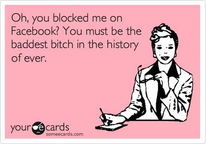 Oh, you blocked me on Facebook? You must be the baddest bitch in the history of ever!!