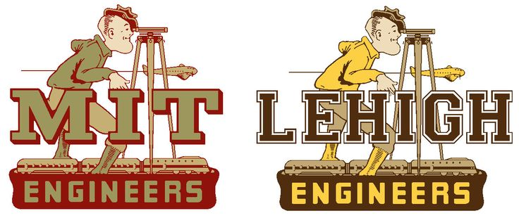 Restored 50's MIT decal done by Arthur Evans of Angelus Pacific and mashup of it for Lehigh, whose sports teams were also called the Engineers back in the day.
