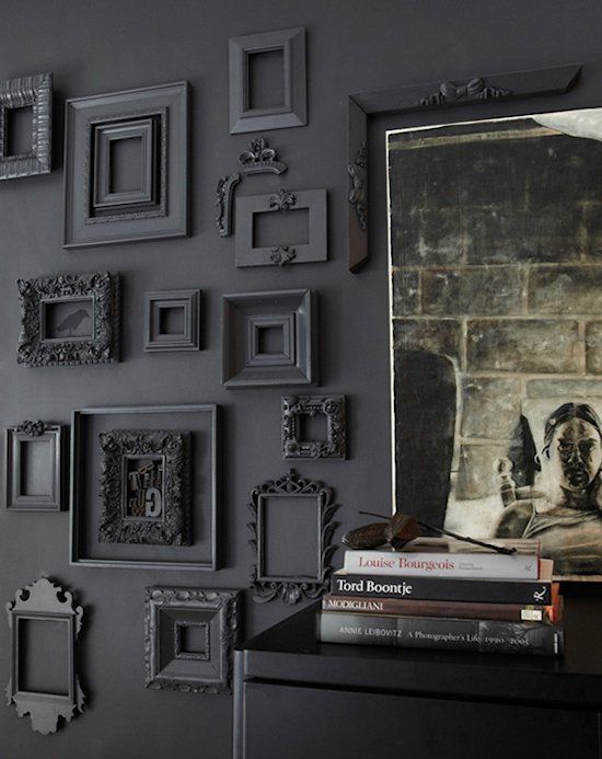 Year-Round Style: Black Walls for Halloween and Beyond: Wall Colors, Idea, Paintings Frames, Wall Frames, Black Frames, Empty Frames, Frames Wall, Pictures Frames, Black Wall