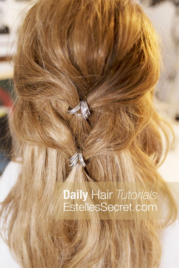 See full Tutorial, go to our Blog Page: www.EstellesSecret.com hairstyle, hair tutorial, half updo, hairstyle tutorial, wedding hair, quick hairstyle, easy hairstyle, hair updo, bohemian hair,