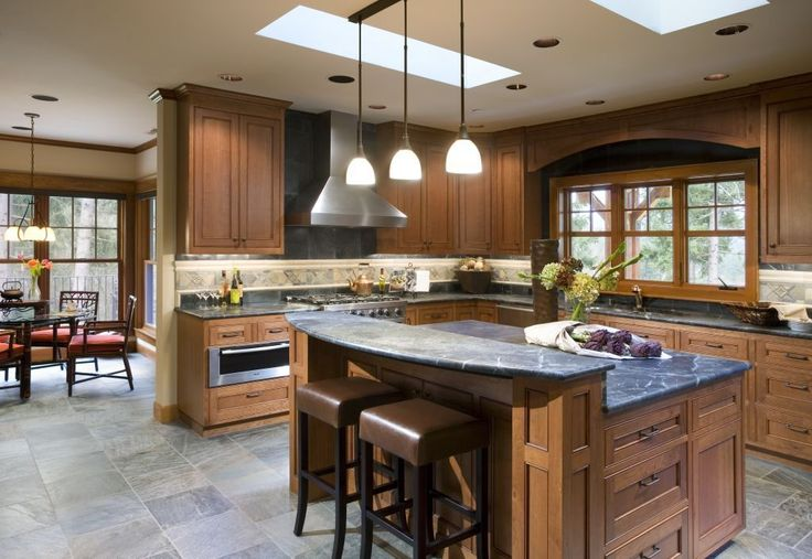 Craftsman Kitchen with Pendant Light, Square Recessed Panel - Veneer (SNA) Door Style, slate tile floors, Slate Tile