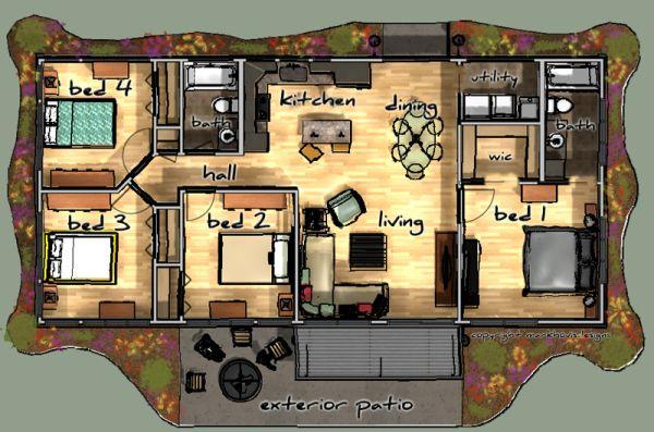 ... dormitorios y a un baño completo. casacampo2. Planos de Casa ...
