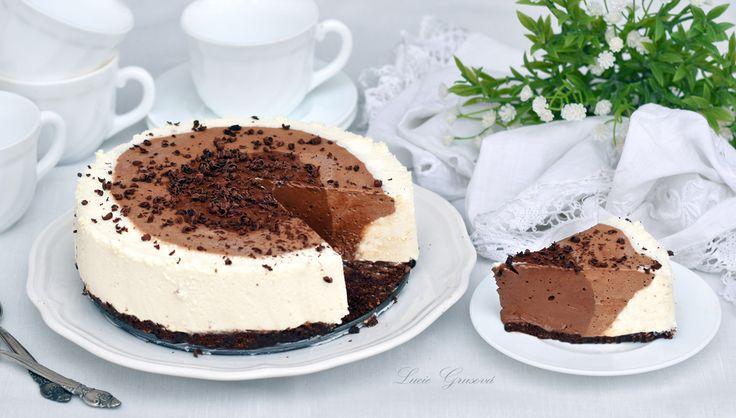 tříbarevný nepečený cheesecake
