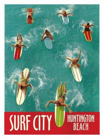 Surf City  Huntington Beach Giclee Print