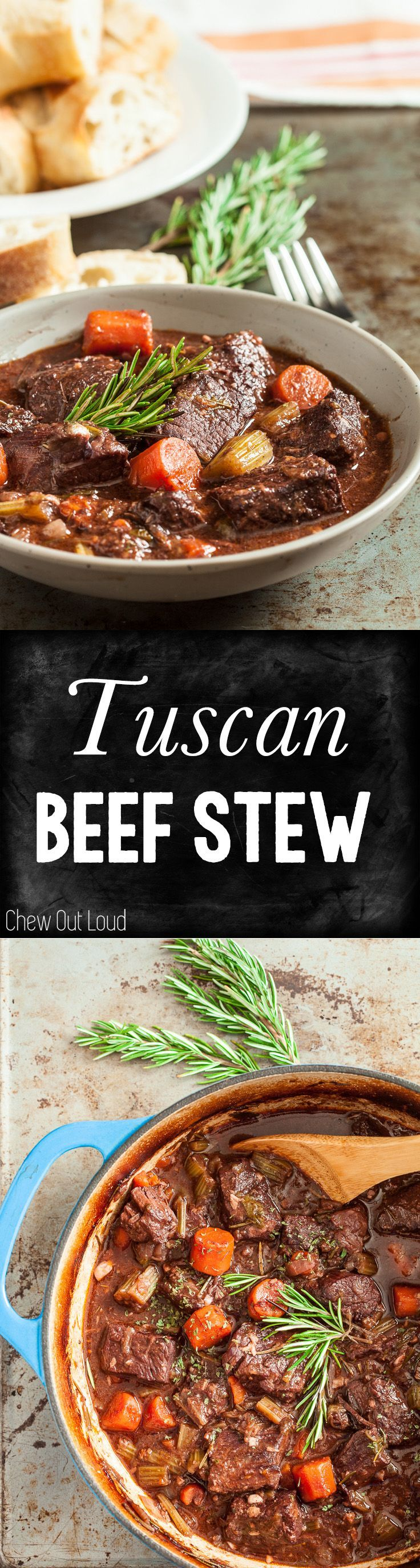Tuscan Style Beef Stew. Ultra tender, luscious, and satisfying. #stew #recipe