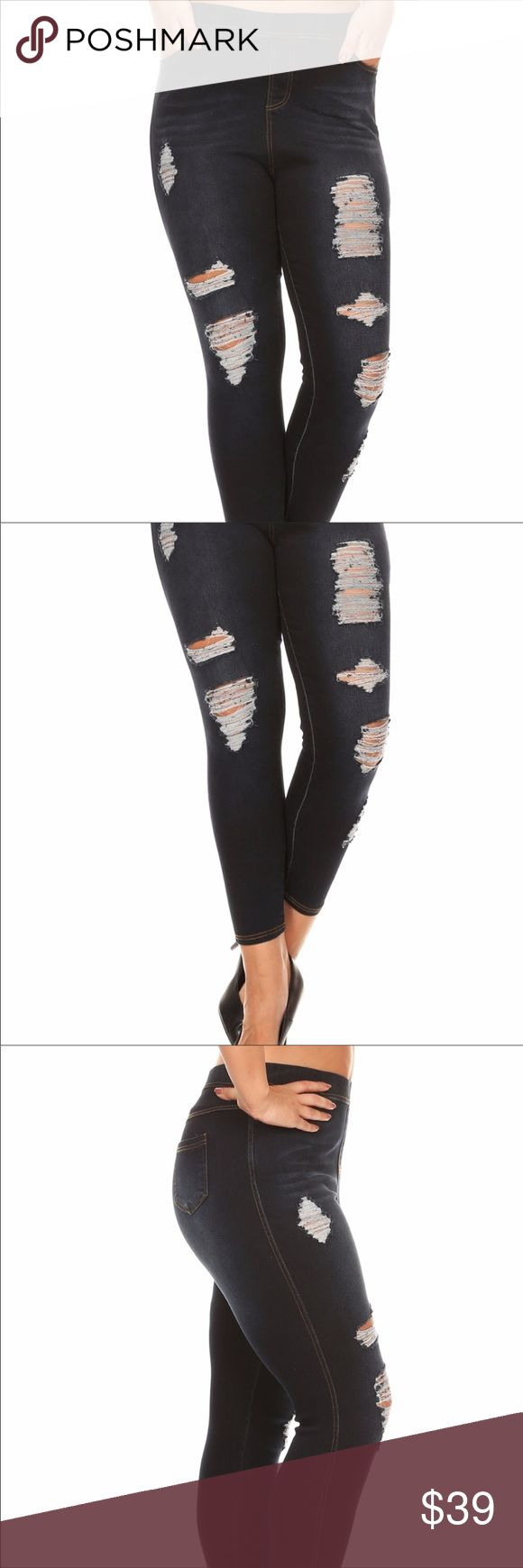 """Stretchy Distressed Denim For Curvy Ladies Front Rise 12 inches  Back Rise 15 inches Inseam 28 inches 1X waist 17 inches laying flat not circumference  2X waist 18 inches laying flat not circumference  3X waist 19 inches laying flat not circumference  These jeans are very slimming and comfortable but do run a size down. I normally would wear a 2X in this design but had to wear a 3X. I am 5'10"""" these jeans fit like capris on me. I love them they really accentuate my curves. Shosho Jeans…"""