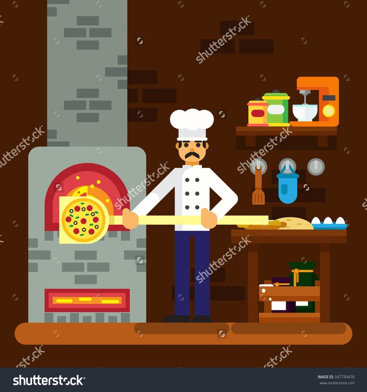 Cook baker cooking pizza icon bakery background flat design vector illustration esp10