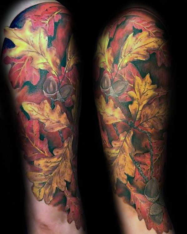 50 Fall Tattoos For Men Autumn Ink Design Ideas Tattoos Autumn Tattoo Colorful Sleeve Tattoos
