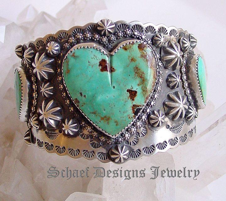 Schaef Designs turquesa corazón & Sterling pulsera plata | Nativo de Colección Turquesa americana galería de joyería en línea | Schaef diseños artesanales de colección artesanal sudoeste & Jewelry Equinos | Nuevo México