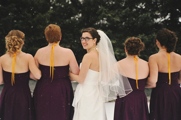 To add excitement to the back, we had the yellow ribbon add some color and movement. Photo Credit: Rachel Gabrielse Photography