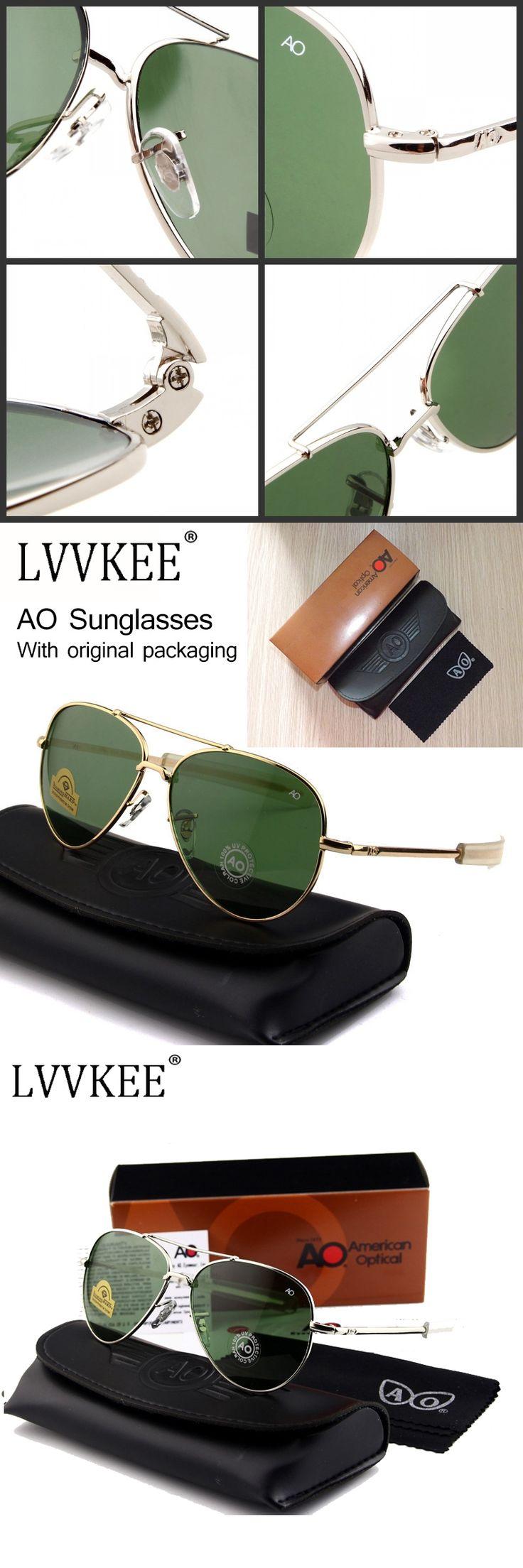 Newest US Army MILITARY AO Brand Designer Aviator Sunglasses Glass Lens men Sun Glasses oculos masculino With original Case logo