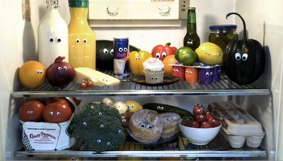 Add googly-eyes to everything in the fridge! =) April fools