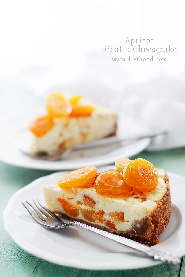 Apricot Ricotta Cheesecake: This light and fluffy Ricotta Cheesecake is sweetened with honey and packed with delicious chunks of apricots.