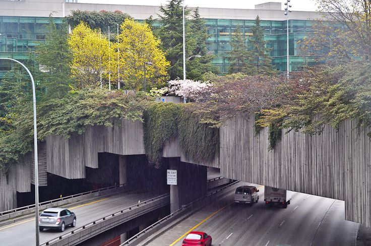 Seattle's 5.2-acre Freeway Park, which bridges Interstate 5 and a large city-owned parking lot, provides pedestrian access between the Washington State Convention & Trade Center and the First Hill neighborhood. The design celebrates the site's urban nature while minimizing the freeway's negative impact. The Lawrence Halprin–designed oasis has even been featured in the Michelin Guide as a special attraction.