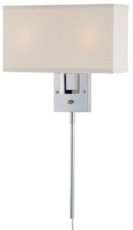 Lite Source Rimini White Fabric and Chrome Plug-In Wall Lamp - EuroStyleLighting.com