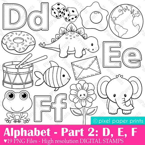 Alphabet Digital Stamps Part 2 DEF clip art от pixelpaperprints