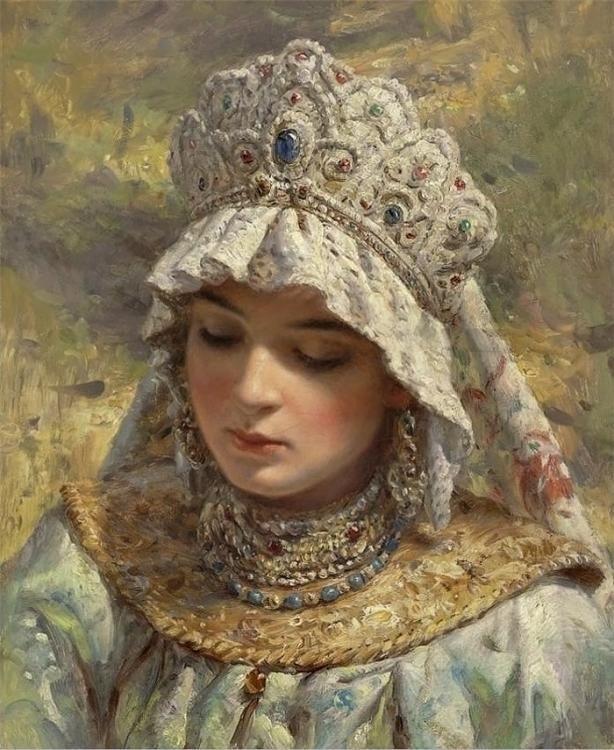 Russian Beauty in a Head-dress by Konstantin Makovsky (1839-1915)