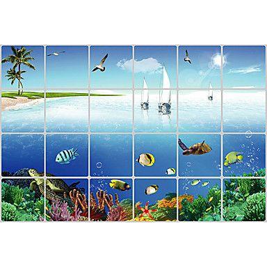 Landscape Sea Life Aluminum Foil Waterproof High Temperature Resistant Wall Stickers – AUD $ 11.79