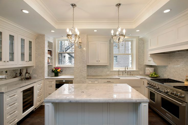Crown moulding before and after kitchen traditional with crystal chandeliers gray tile backsplash