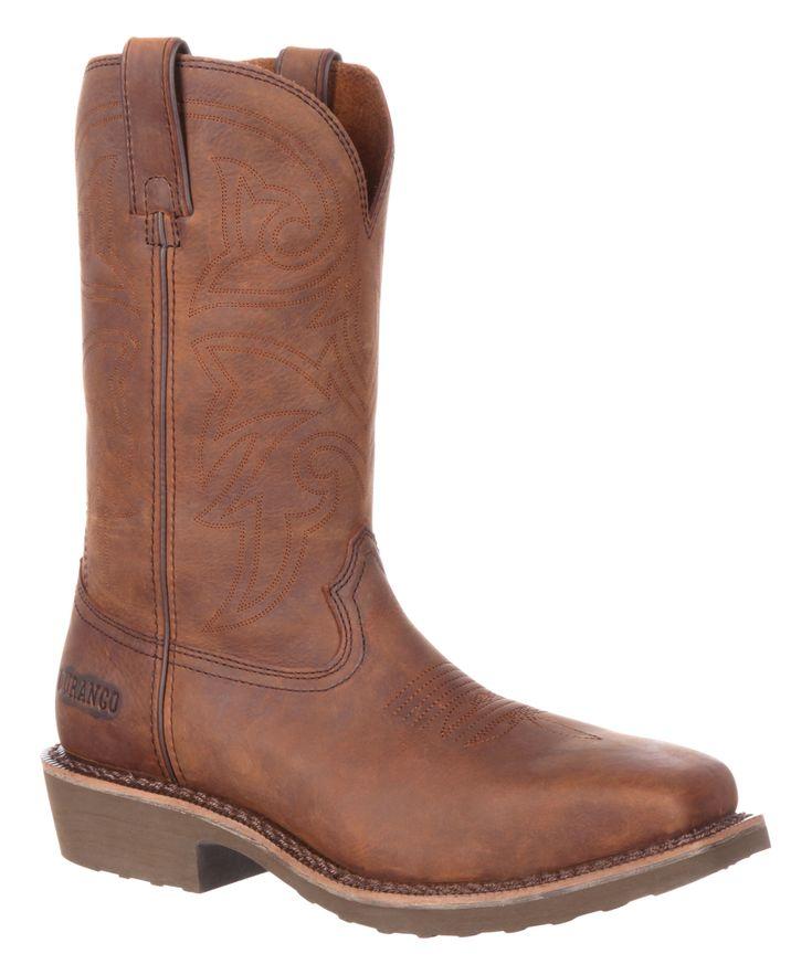 Brown Farm 'N' Ranch Steel Toe Leather Cowboy Boot - Men