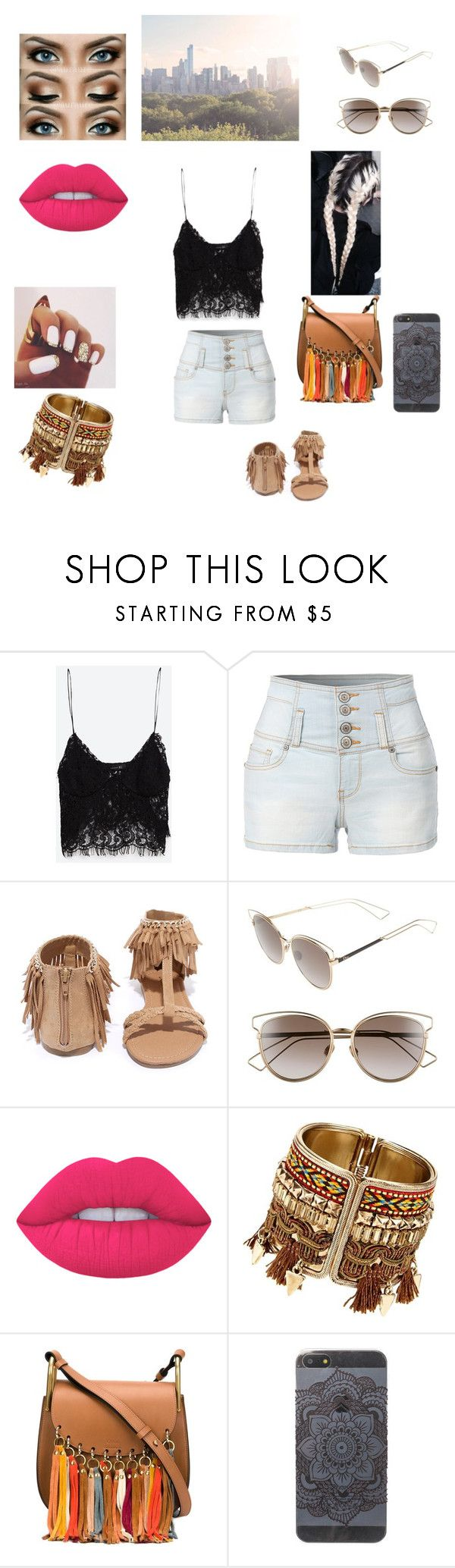 """""""New York Style"""" by chelsey-r-moser ❤ liked on Polyvore featuring Zara, LE3NO, Qupid, Christian Dior, Lime Crime, Chloé and WALL"""