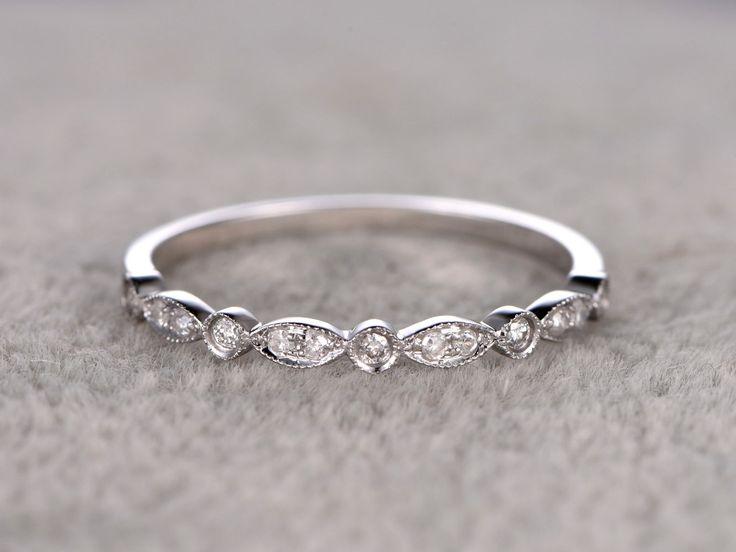 White Gold Diamond Wedding Rings For Her Antique Art Deco Half Eternity Band Milgrain Annivery Ring - BBBGEM
