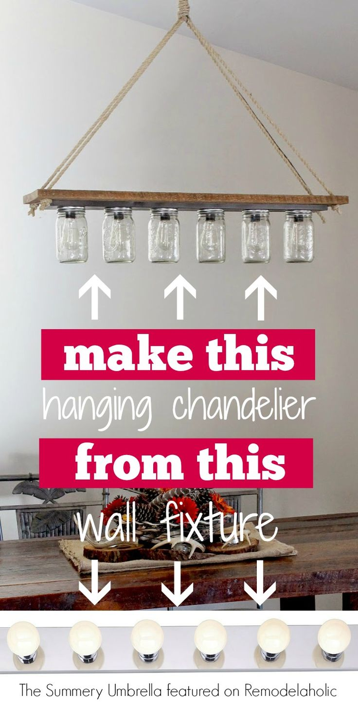 Diy Chandelier From Hollywood Style Vanity Light The Summery Umbrella On Remodelaholic Pendantlight Upcycle Projects Pinterest