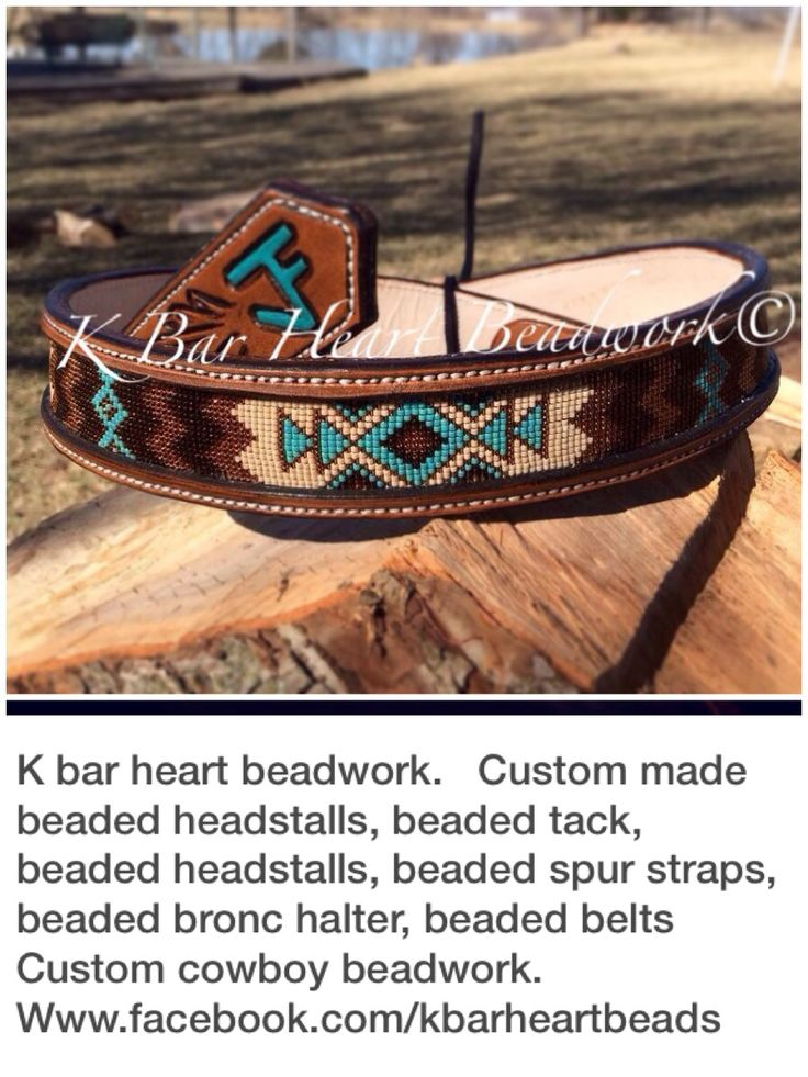 K bar heart beadwork.   Custom made beaded headstalls, beaded tack, beaded headstalls, beaded hatbands, beaded spur straps, beaded bronc halter, beaded belts  Custom cowboy beadwork.   Www.facebook.com/kbarheartbeads