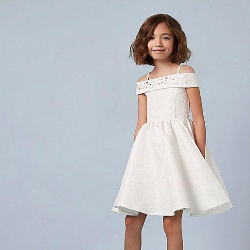 Girls cream jacquard skater dress - party dresses - dresses - girls
