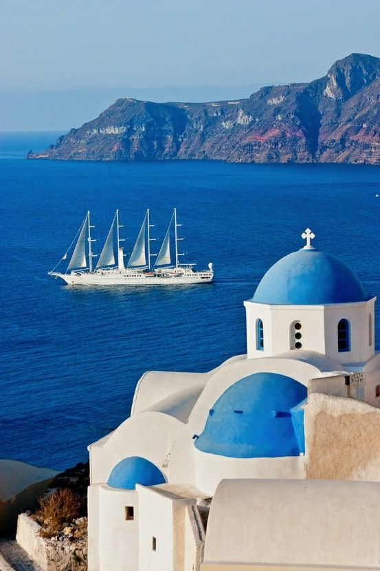 Sailing in Santorini   Cyclades, Greece.