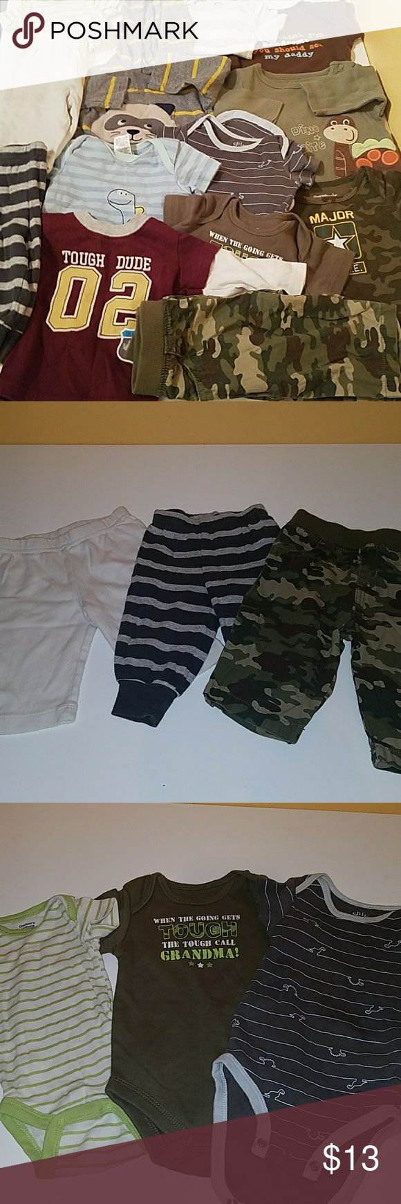 0-3 Lot 2. Pic. White 100% cotton. Striped light and dark grey Child of Mine Carter's. Camo is garanimals. 3. Pic left to right. Gerber, Faded Glory, Child Of mine  4. Both Child of Mine brand 5. Grananimals, Faded Glory 6. Gerber, Granimals, Fisher Price EUC! Ask any questions you may have :) Carter's One Pieces
